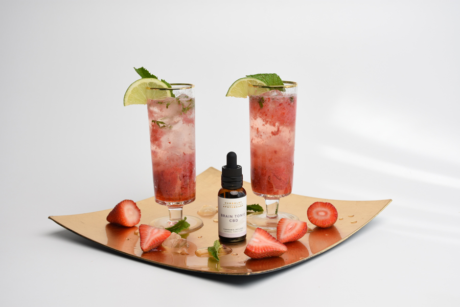 A Recipe for Strawberry Smart Mojito, Featuring Humboldt Apothecary Brain Tonic CBD Cannabis Tincture